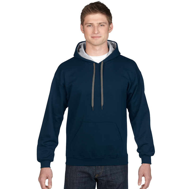 - 271 g/m (257 g/m in White) - 50% cotton / 50% polyester preshrunk fleece knit - Air jet yarn = softer feel and reduced pilling  - Satin label - Double needle stitching at waistband and cuffs - Pouch pocket - 1 x 1 rib with spandex - Quarter-turned to eliminate centre crease