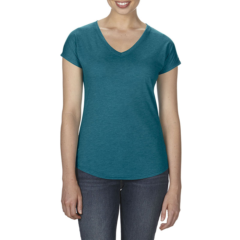 – 159 g/m2 Pre-shrunk 50% polyester/25% combed ring spun cotton/25% rayon – Fabric 30/1 – Semi-fitted contoured silhouette with side seam and display tape -1/2″ rib v-neck collar – Single-needle topstitched front neck – Double-needle dolman sleeve and curved bottom hem – TearAway label Oeko-Tex¨ Standard 100 Certified – Companion Style: 6750 – Available Sizes: LXS-L2XL – 6 Colours: white, black, heather red, heather dark grey, heather aubergine, heather galapagos blue
