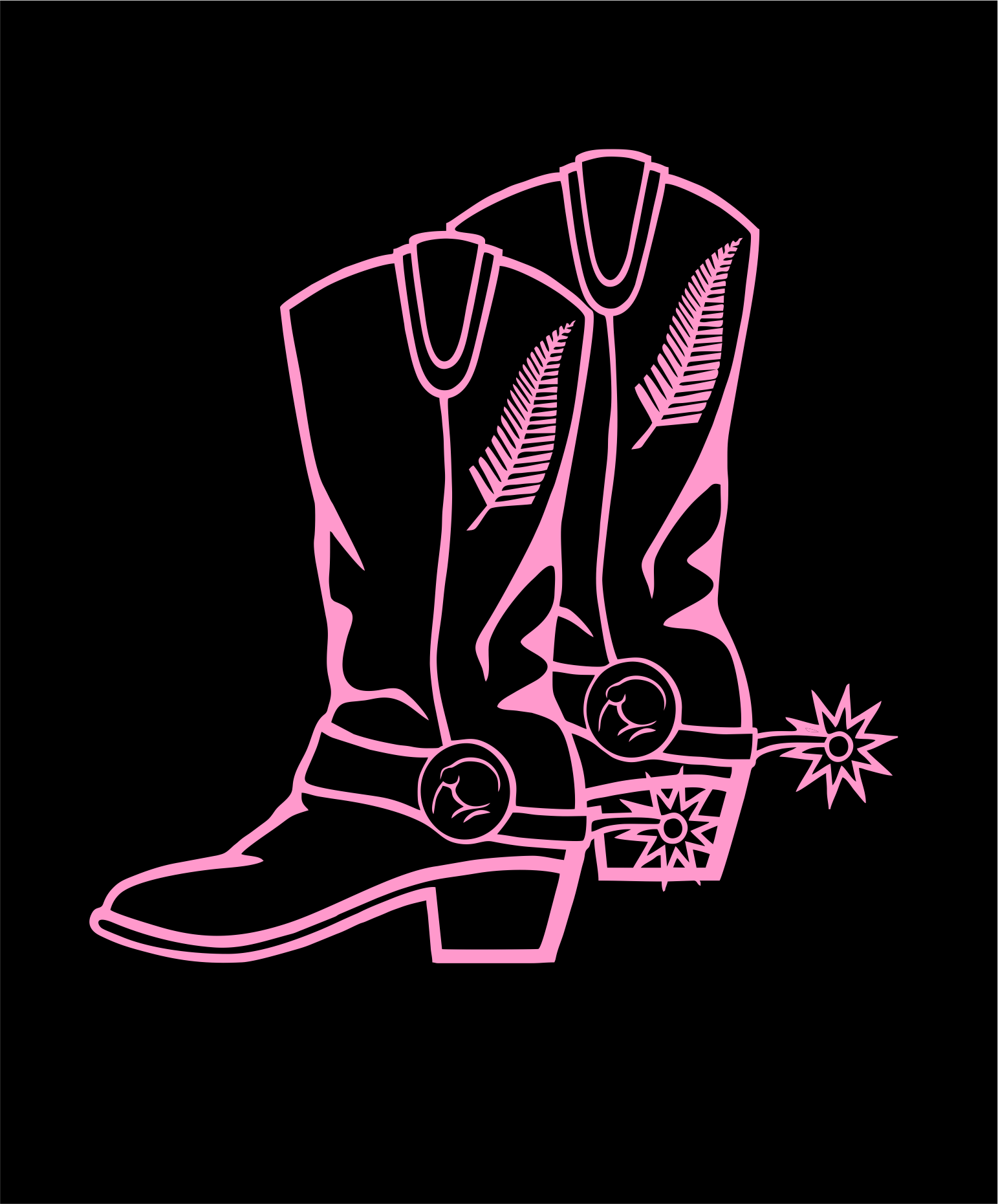 Custom made cow boy boot graphic for a pocket size image on the front of a customers T-shirt